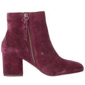 Splendid Danielle purple leather side zip booties